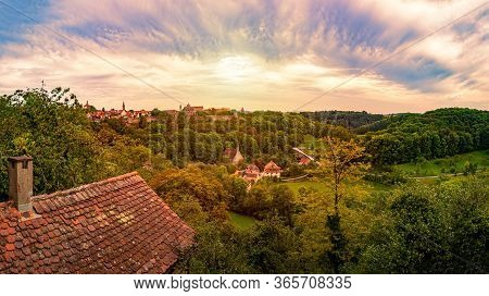 Panorama Of Rothenburg Ob Der Tauber City In Bavaria, Germany, Europe. Old Town On Horizon, Blue Clo