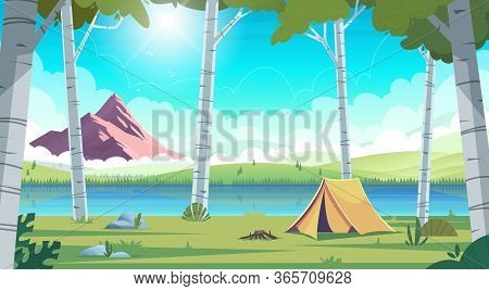 Summer Landscape With Birch Trees And Blue Mountain Lake View And Camping . Summer Camp On Lake Shor