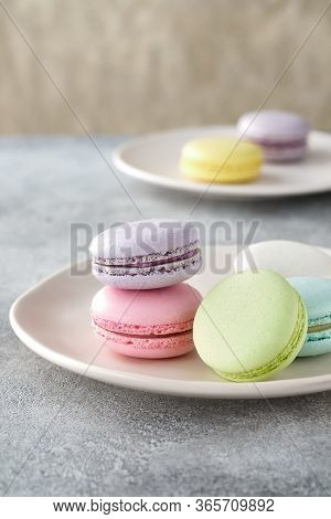 A French Sweet Delicacy, Macaroons Variety Closeup. Macaroon Colourful Texture.