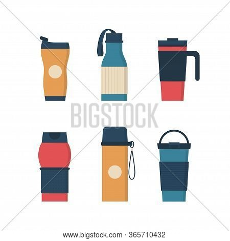 Tumblers With Cover, Travel Thermo Mugs, Reusable Cups For Hot Drinks. Different Designs Of Thermos