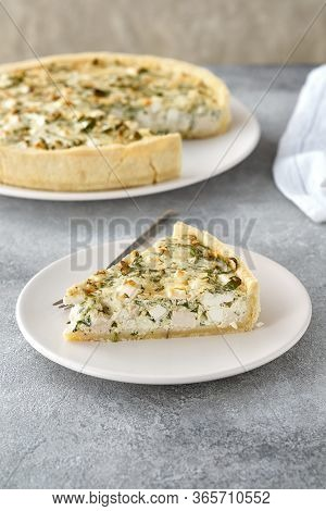 Pieces Of Quiche Lorraine With Bacon And Cheese. French Cuisine.