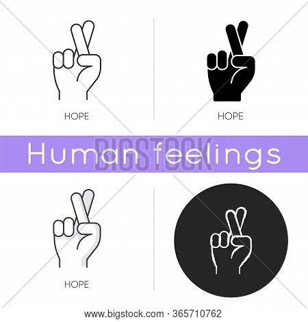 Hope Icon. Crossed Fingers For Luck. Optimistic Outlook. Positive Mental Attitude. Wish Of Good Expe