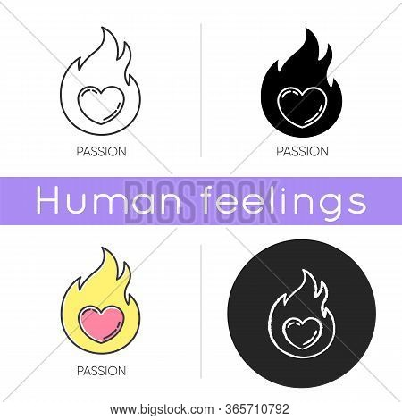 Passion Icon. Intense Positive Emotion. Affection And Lust. Sexual Drive. Desire From Libido. Flamin