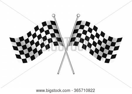Black And White Race Flag For Start And Finish On Rally Road. Checkered Waving Flags For Winner Of M