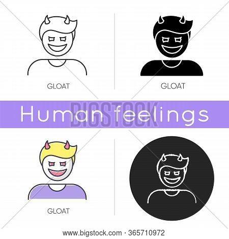 Gloat Icon. Evil Smile. Bad Attitude. Vicious Smirk. Scary Person. Devil Facial Expression. Destruct