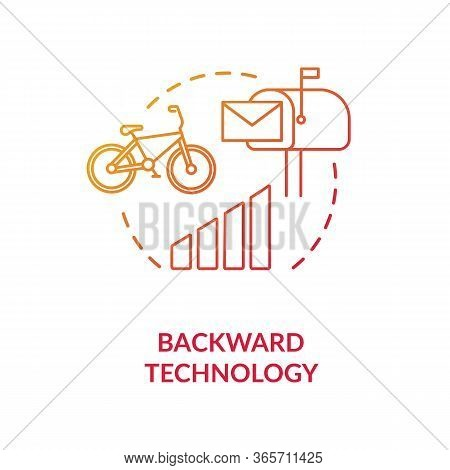 Backward Technology Red Concept Icon. Country Living Disadvantage. Low Quality Transport. Village Li