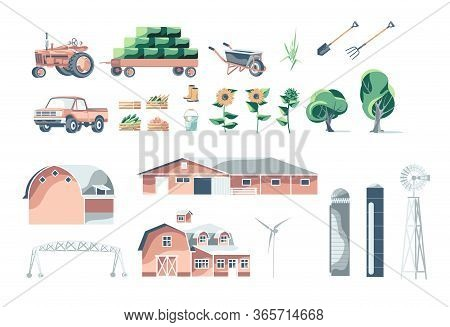 Objects Set Of Agriculture Technics, Buildings, Equipments, Harvest And Plants Isolated On White Bac