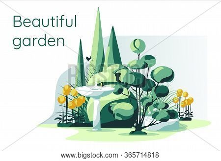 Residential Garden Plants Set With Fontain White Background