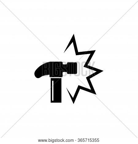 Hammer Crash, Knock, External Influence. Flat Vector Icon Illustration. Simple Black Symbol On White