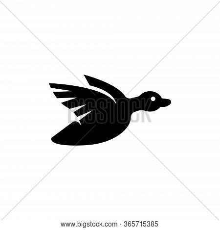 Duck Flying, Hunt Wild Waterfowl Bird. Flat Vector Icon Illustration. Simple Black Symbol On White B