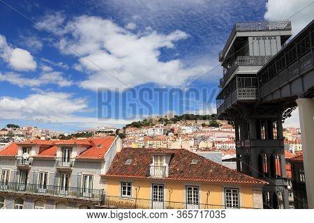 Santa Justa Lift In Lisbon City, Portugal.