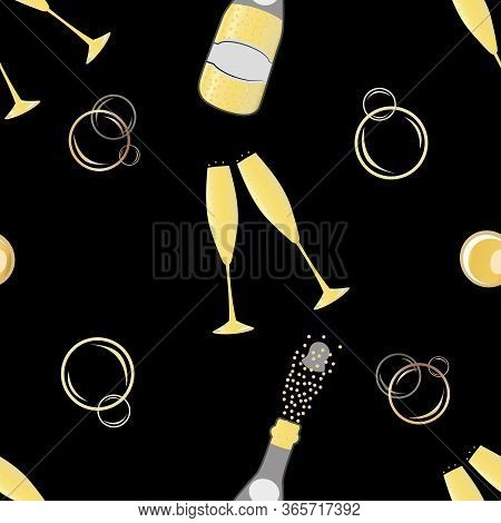 Champagne Bubbles Vector Seamless Pattern Background. Hand Drawn Bottles, Glasses, Fizzy Drink Black