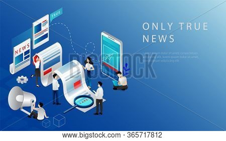 Isometric 3d Concept Of Breaking Latest News. Website Landing Page. News Update, Online News. People