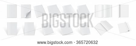 Set Of Magazine Covers From Different Sides On A White Background Vector Mock Up