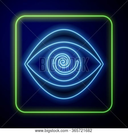 Glowing Neon Hypnosis Icon Isolated On Blue Background. Human Eye With Spiral Hypnotic Iris