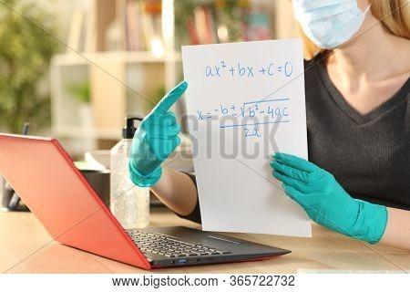 Close Up Of Teacher Woman Hands Teaching Online Course On Laptop Videocall During Coronavirus Confin