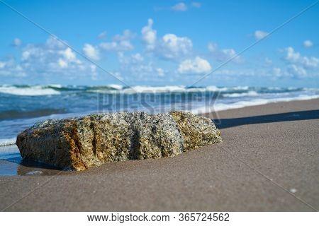 Stone On The Beach Of The Polish Baltic Sea Coast Near Rewal