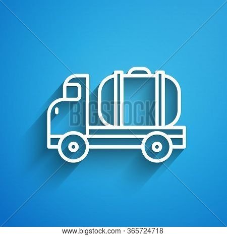 White Line Tanker Truck Icon Isolated On Blue Background. Petroleum Tanker, Petrol Truck, Cistern, O