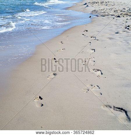 Footprints On The Beach Of The Polish Baltic Sea Coast Near Rewal