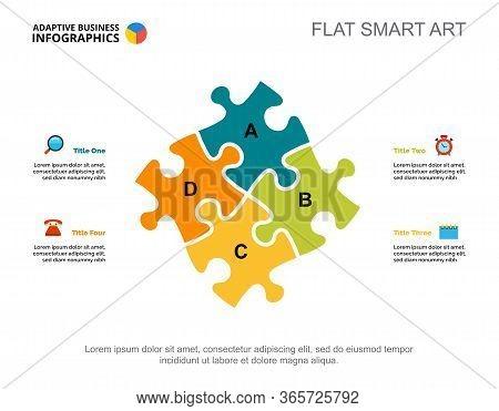 Four Elements Process Chart Slide Template. Business Data. Art, Idea, Design. Creative Concept For I
