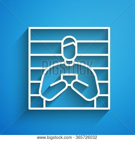 White Line Suspect Criminal Icon Isolated On Blue Background. The Criminal In Prison, Suspected Near