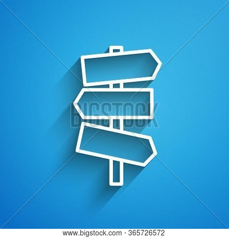 White Line Road Traffic Sign. Signpost Icon Isolated On Blue Background. Pointer Symbol. Street Info
