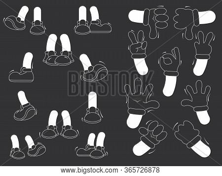 Cartoon Legs And Arms. Legs In Boots And Hands In Black Gloves. Vector Set For Animation.