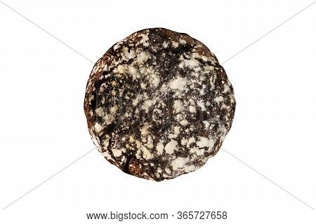 Dark Brown Bread Isolated On White Background Top View Photography. Rye Flavoring Cooked Round Loaf