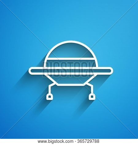 White Line Ufo Flying Spaceship Icon Isolated On Blue Background. Flying Saucer. Alien Space Ship. F