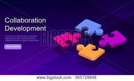 Collaborative Development, Isometric Business Concept Vector. Color Puzzle Elements Or Icons On Ultr