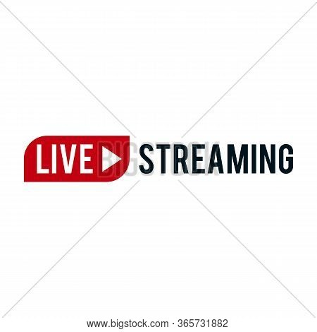 Live Streaming Icons. Red Symbols And Buttons Of Live Streaming, Broadcasting, Online Stream. Lower