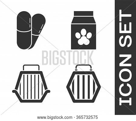 Set Pet Carry Case, Dog And Pills, Pet Carry Case And Bag Of Food For Pet Icon
