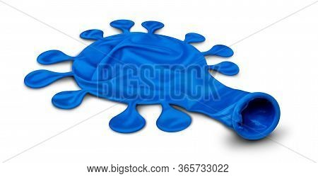 Respiratory Virus Concept And Disease Control Symbol As A Deflated Balloon Shaped As A Contagion As