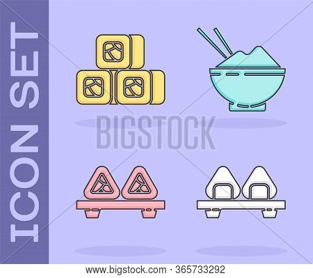 Set Sushi On Cutting Board, Sushi, Sushi On Cutting Board And Rice In A Bowl With Chopstick Icon