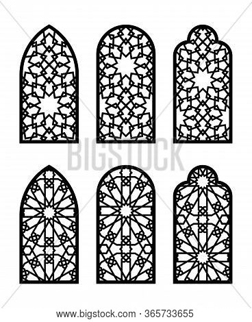 Islamic Arch Window Or Door Set. Cnc Pattern, Laser Cutting, Vector Template Set For Wall Decor, Han