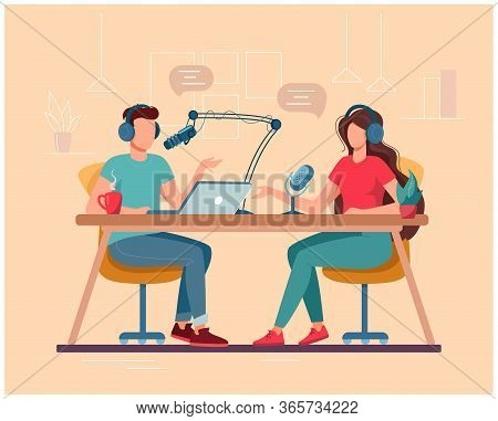 Man And Woman Are Djs On The Radio. Concept Of Podcasting, Radio Station, Interview. Podcast Present