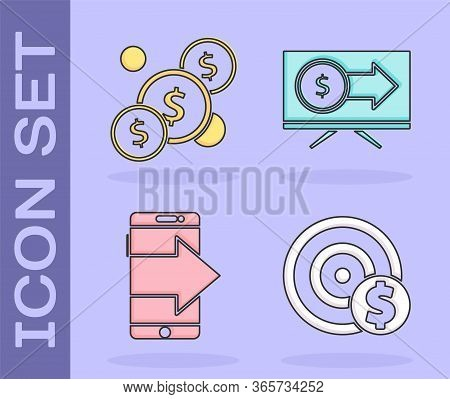 Set Target With Dollar Symbol, Coin Money With Dollar, Smartphone, Mobile Phone And Monitor With Dol