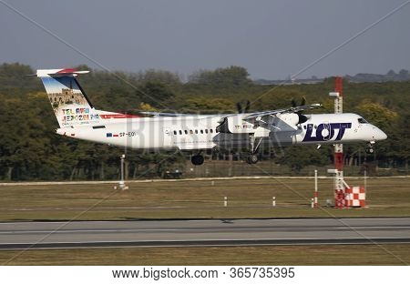 Budapest / Hungary - October 6, 2018: Lot Polish Airlines Special Livery Bombardier Dhc-8 Q400 Sp-eq