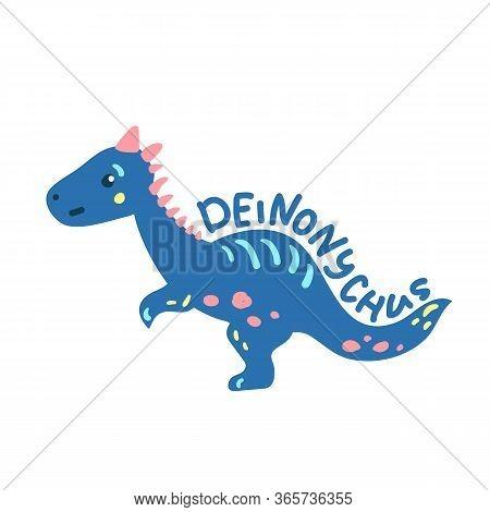 Cartoon Dinosaur Deinonychus. Cute Dino Character Isolated. Playful Dinosaur Vector Illustration On