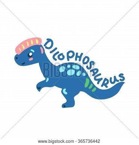 Cartoon Dinosaur Dilophosaurus. Cute Dino Character Isolated. Playful Dinosaur Vector Illustration O