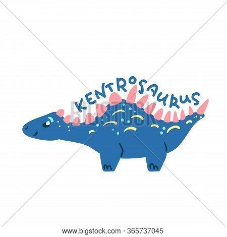 Cartoon Dinosaur Kentrosaurus. Cute Dino Character Isolated. Playful Dinosaur Vector Illustration On