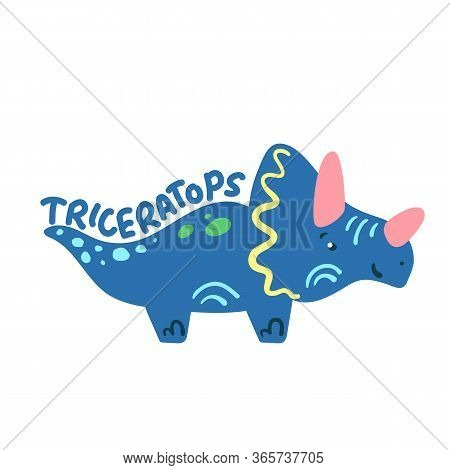 Cartoon Dinosaur Triceratops. Cute Dino Character Isolated. Playful Dinosaur Vector Illustration On