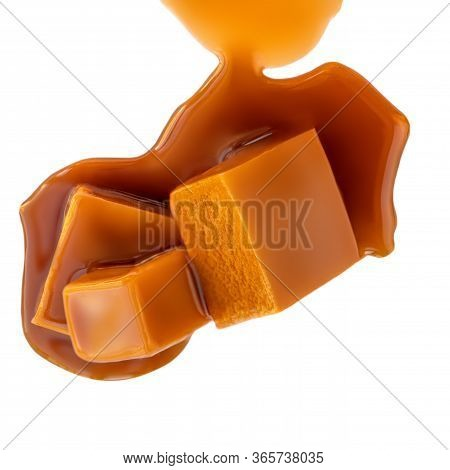 Caramel Candies Isolated On A White Background. Caramel Pieces With Sauce Close Up