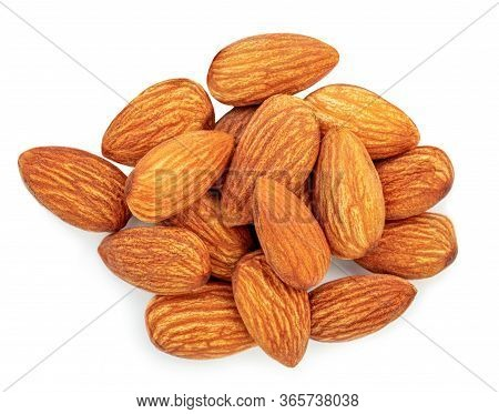 Almonds Nuts Isolated On White Background. Raw Almond Top View. Flat Lay Collection. Close-up. Food