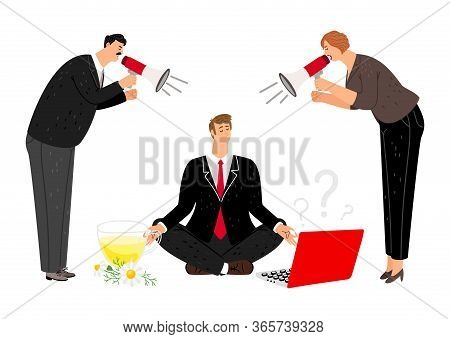 Man Keep Calm. Nervous Managers With Bullhorn Or Megaphone. Boss Screaming, Employee Meditation. Cle