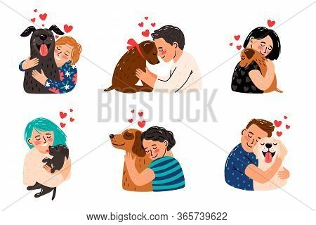 Kids Petting Dogs. Children Hugging Dog Pets Vector Illustration, Happy Girls And Smiling Boys With