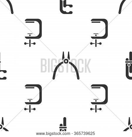 Set Clamp Tool, Pliers Tool And Clamp And Screw Tool On Seamless Pattern