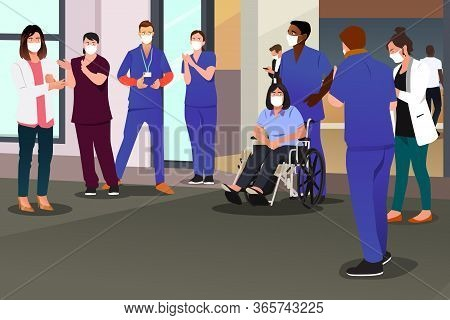 A Vector Illustration Of Healthcare Workers Applauding Recovered Patient In Hospital