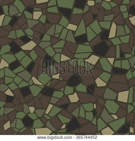 Military Mosaic Tile Seamless Pattern. Abstract Pattern. Army Color Mosaic. Vector Crack Stone Marbl