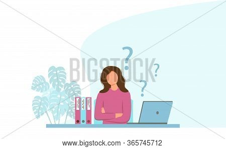 Young Woman Is Thinking In The Workplace. Workplace With A Laptop. The Concept Of Fatigue, Disappoin